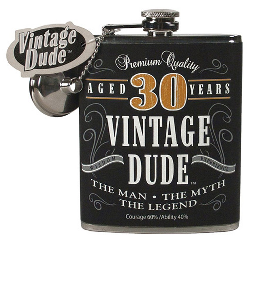 Vintage Dude Aged 30 Years Flask