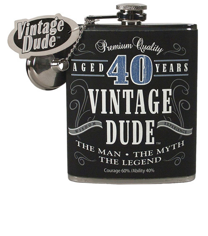 Vintage Dude Aged 40 Years Flask