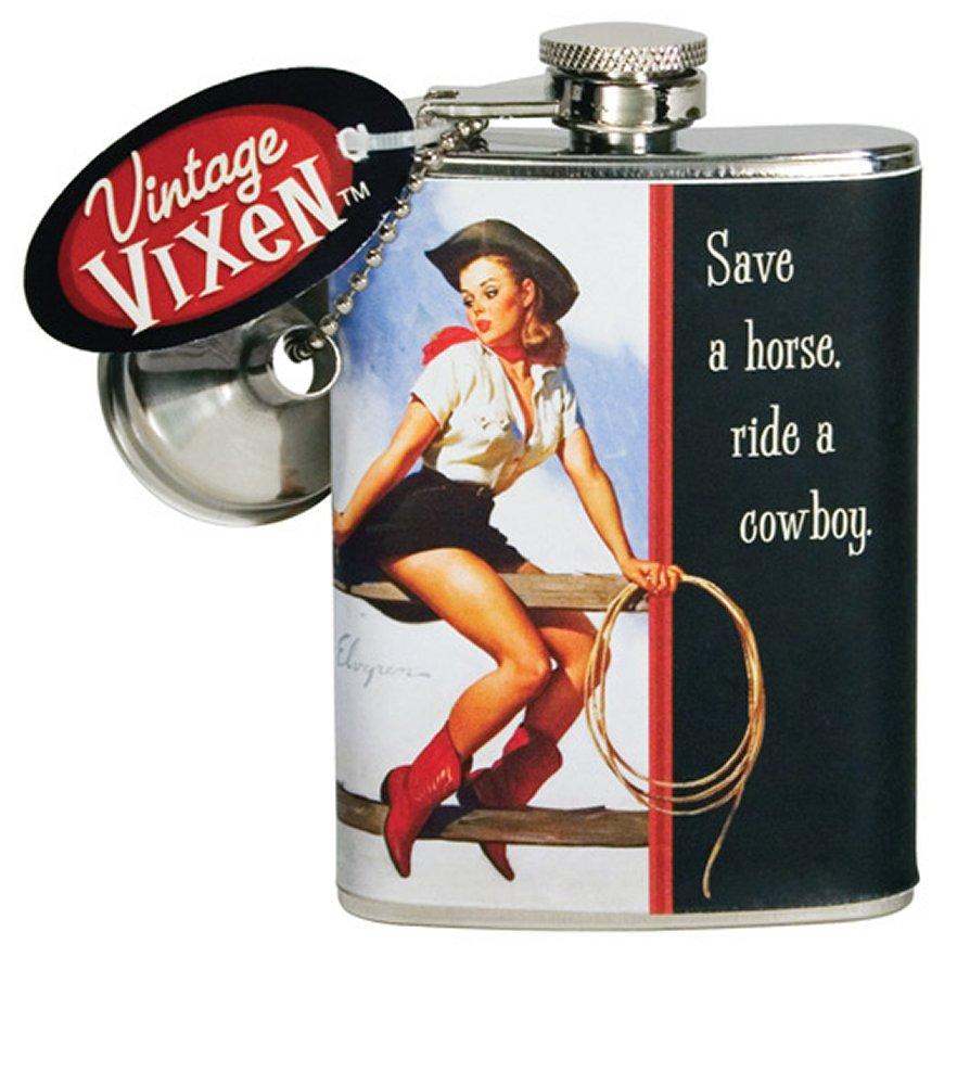 Vintage Vixen Save a Horse, Ride a Cowboy Flask