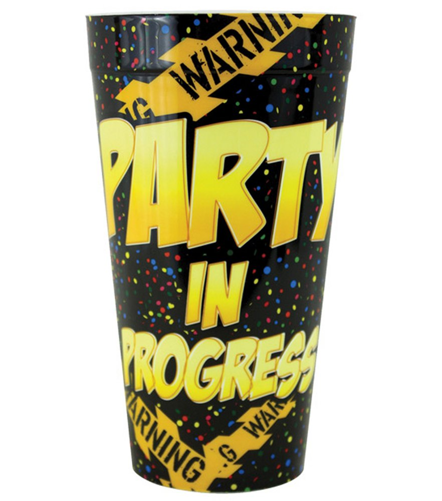 Warning Party In Progress Plastic Cup