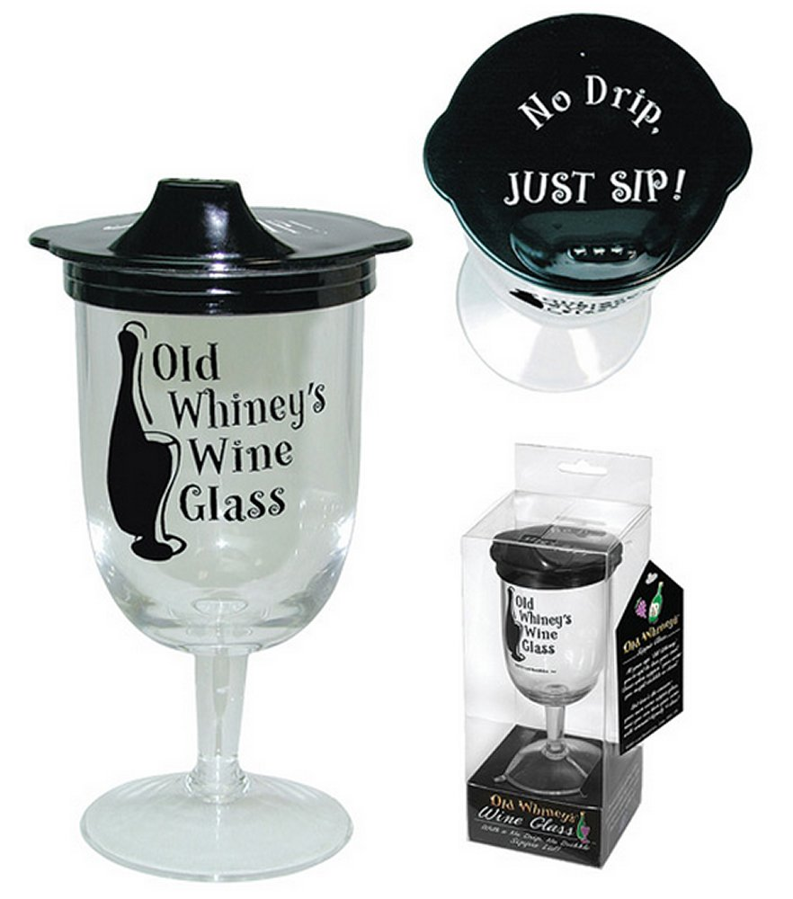 Old Winey's Wine Glass with Sippie Lid