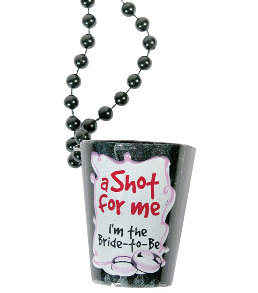 Bachelorette Bride To Be Black Shot Glass Necklace