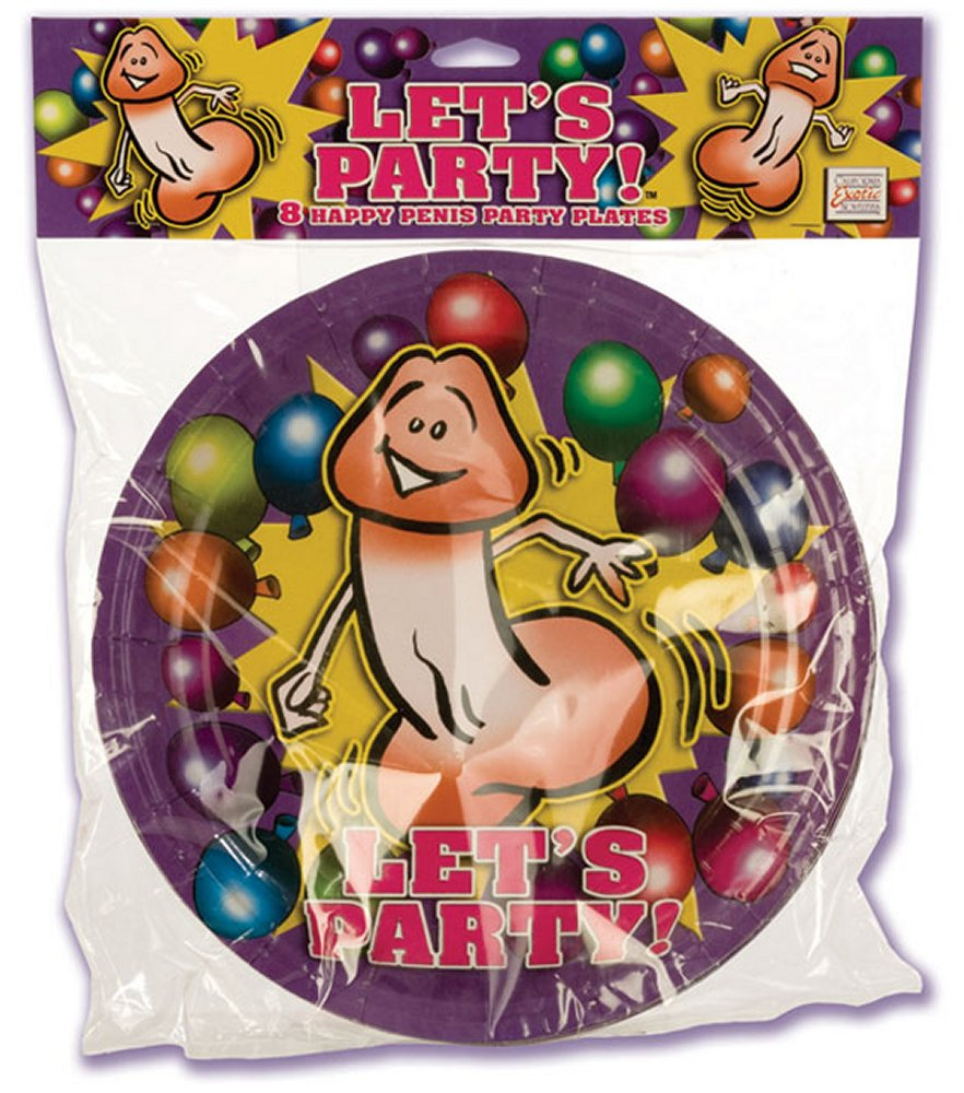 Let's Party Happy Penis Dinner Size Plates