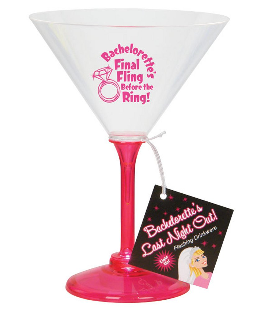 Bachelorette Last Night Out Flashing Martini Glass