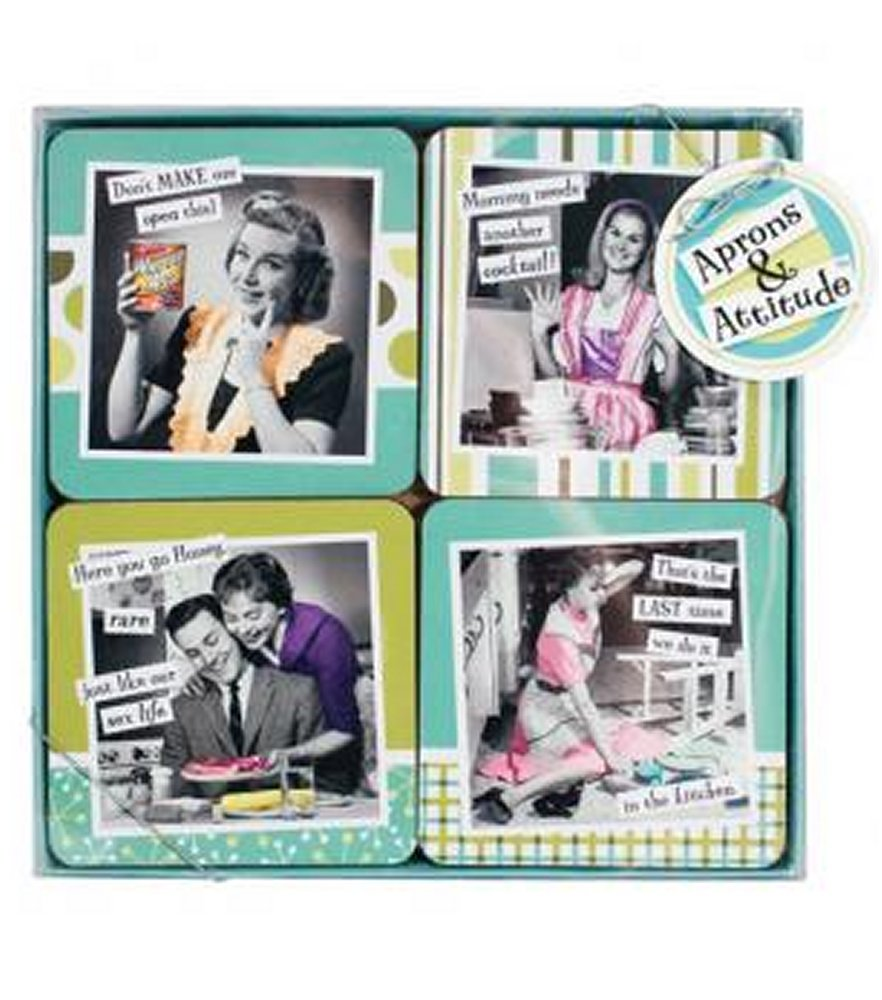 Aprons and Attitudes Coaster Set